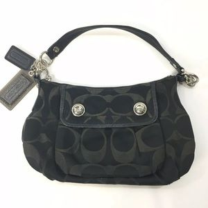 Coach Purse Poppy Signature Sateen Black